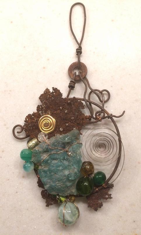 "Bedsprings Firepit Glass - sold  (3"" x 6"")"