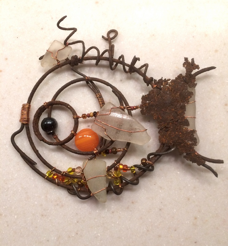 "Bedsprings Fish - sold (5""x 5"")"