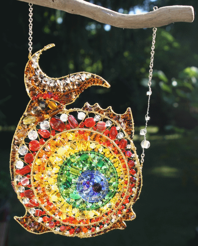 """Rainbow Fish - sold  (14"""" including chain x 8"""")"""