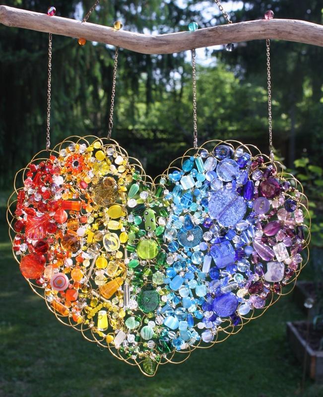 "Rainbow Heart - sold (15"" x15"")"
